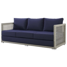 Aura Outdoor Patio Wicker Rattan Sofa, Rattan Wicker, Grey Gray 13874