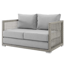 Aura Outdoor Patio Wicker Rattan Loveseat, Rattan Wicker, Grey Gray 13876