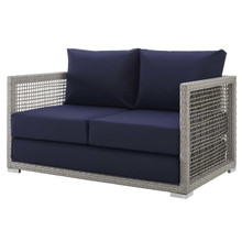 Aura Outdoor Patio Wicker Rattan Loveseat, Rattan Wicker, Grey Gray 13877