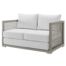 Aura Outdoor Patio Wicker Rattan Loveseat, Rattan Wicker, Grey Gray White 13878