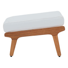 Saratoga Outdoor Patio Teak Ottoman, Wood, White Natural 13881