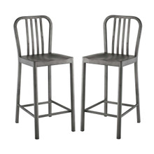 Clink Counter Stool Set of 2, Metal Steel, Silver 13889