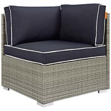 Repose Outdoor Patio Corner, Sunbrella Rattan Wicker, Navy Blue Light Gray 13893