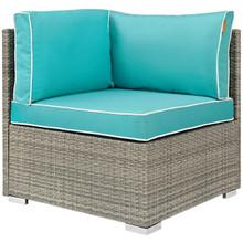 Repose Outdoor Patio Corner, Sunbrella Rattan Wicker, Blue Light Gray 13894
