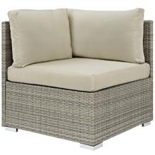Repose Sunbrella® Fabric Outdoor Patio Corner, Sunbrella Rattan Wicker, Light Gray Beige 13896