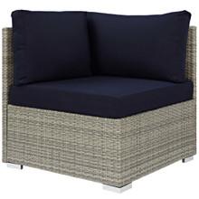 Repose Sunbrella® Fabric Outdoor Patio Corner, Sunbrella Rattan Wicker, Navy Blue Light Gray 13897