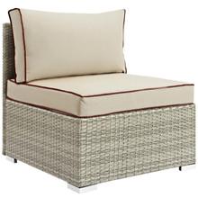 Repose Outdoor Patio Armless Chair, Sunbrella Rattan Wicker, Light Gray Beige 13898