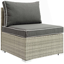Repose Outdoor Patio Armless Chair, Sunbrella Rattan Wicker, Dark Grey Gray 13899