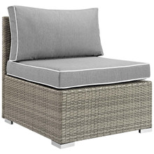 Repose Outdoor Patio Armless Chair, Sunbrella Rattan Wicker, Grey Gray 13900
