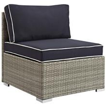 Repose Outdoor Patio Armless Chair, Sunbrella Rattan Wicker, Navy Blue Light Gray 13901