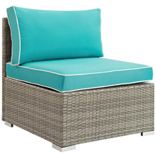 Repose Outdoor Patio Armless Chair, Sunbrella Rattan Wicker, Blue Light Gray 13902