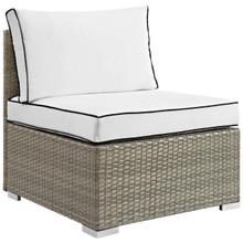 Repose Outdoor Patio Armless Chair, Sunbrella Rattan Wicker, White Light Gray 13903