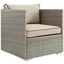 Repose Outdoor Patio Armchair, Sunbrella Rattan Wicker, Light Gray Beige 13906