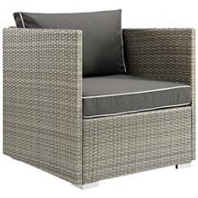 Repose Outdoor Patio Armchair, Sunbrella Rattan Wicker, Dark Grey Gray 13907