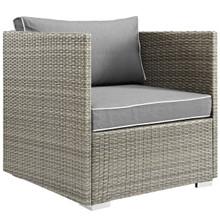 Repose Outdoor Patio Armchair, Sunbrella Rattan Wicker, Grey Gray 13908