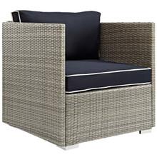Repose Outdoor Patio Armchair, Sunbrella Rattan Wicker, Navy Blue Light Gray 13909