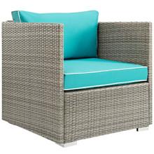 Repose Outdoor Patio Armchair, Sunbrella Rattan Wicker, Blue Light Gray 13910
