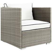 Repose Outdoor Patio Armchair, Sunbrella Rattan Wicker, White Light Gray 13911