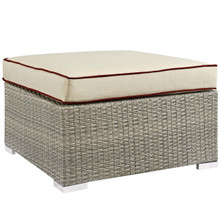 Repose Outdoor Patio Upholstered Fabric Ottoman, Sunbrella Rattan Wicker, Light Gray Beige 13914