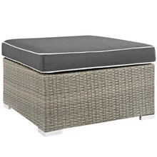 Repose Outdoor Patio Upholstered Fabric Ottoman, Sunbrella Rattan Wicker, Dark Grey Gray 13915