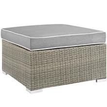 Repose Outdoor Patio Upholstered Fabric Ottoman, Sunbrella Rattan Wicker, Grey Gray 13916