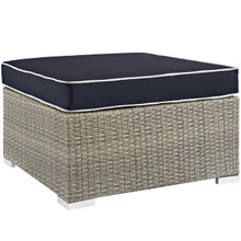 Repose Outdoor Patio Upholstered Fabric Ottoman, Sunbrella Rattan Wicker, Navy Blue Light Gray 13917