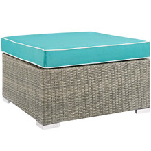 Repose Outdoor Patio Upholstered Fabric Ottoman, Sunbrella Rattan Wicker, Blue Light Gray 13918