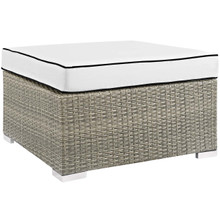 Repose Outdoor Patio Upholstered Fabric Ottoman, Sunbrella Rattan Wicker, White Light Gray 13919