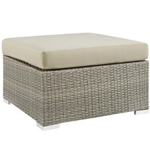 Repose Sunbrella® Fabric Outdoor Patio Ottoman, Sunbrella Rattan Wicker, Light Gray Beige 13920
