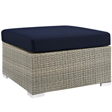 Repose Sunbrella® Fabric Outdoor Patio Ottoman, Sunbrella Rattan Wicker, Navy Blue Light Gray 13921