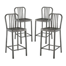 Clink Counter Stool Set of 4, Metal Steel, Silver 13922