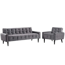 Delve Living Room Set Velvet Set of 2, Velvet Fabric, Grey Gray 13932