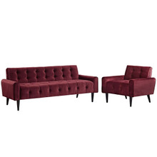 Delve Living Room Set Velvet Set of 2, Velvet Fabric, Red 13933