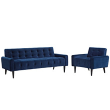 Delve Living Room Set Velvet Set of 2, Velvet Fabric, Navy Blue 13934