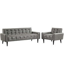 Delve 2 Piece Upholstered Vinyl Sofa and Armchair Set, Faux Vinyl Leather, Grey Gray 13940