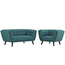 Bestow 2 Piece Upholstered Fabric Loveseat and Armchair Set, Fabric, Aqua Blue 13943
