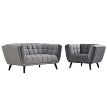 Bestow 2 Piece Velvet Loveseat and Armchair Set, Velvet Fabric, Grey Gray 13945