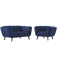 Bestow 2 Piece Velvet Loveseat and Armchair Set, Velvet Fabric, Navy Blue 13946