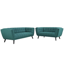 Bestow 2 Piece Upholstered Fabric Sofa and Loveseat Set, Fabric, Aqua Blue 13952