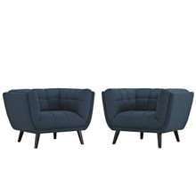 Bestow 2 Piece Upholstered Fabric Armchair Set, Fabric, Blue 13971