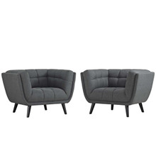Bestow 2 Piece Upholstered Fabric Armchair Set, Fabric, Grey Gray 13972