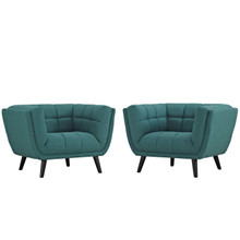 Bestow 2 Piece Upholstered Fabric Armchair Set, Fabric, Aqua Blue 13973