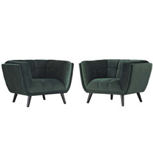 Bestow 2 Piece Velvet Armchair Set, Velvet Fabric, Green 13974