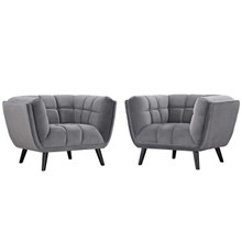 Bestow 2 Piece Velvet Armchair Set, Velvet Fabric, Grey Gray 13975