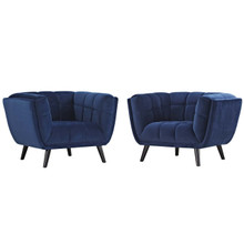 Bestow 2 Piece Velvet Armchair Set, Velvet Fabric, Navy Blue 13976