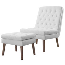 Modify Upholstered Lounge Chair and Ottoman, Fabric, White 13989