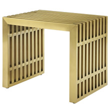 Gridiron Small Stainless Steel Bench, Metal Steel Stainless Steel, Gold 13990