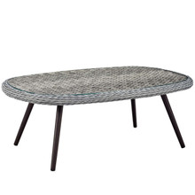 Endeavor Outdoor Patio Wicker Rattan Coffee Table, Rattan Wicker Glass Aluminum Metal, Grey Gray 14048