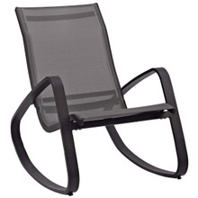 Traveler Rocking Outdoor Patio Mesh Sling Lounge Chair, Aluminum Metal Steel, Multi Black 14049