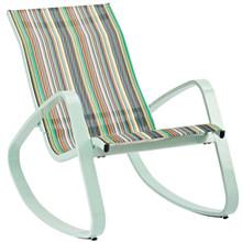 Traveler Rocking Outdoor Patio Mesh Sling Lounge Chair, Aluminum Metal Steel, Green 14050
